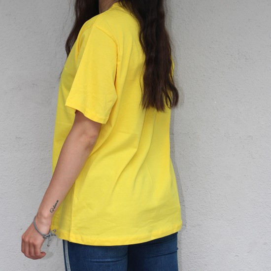 Oversize Sarı Basic Tisort