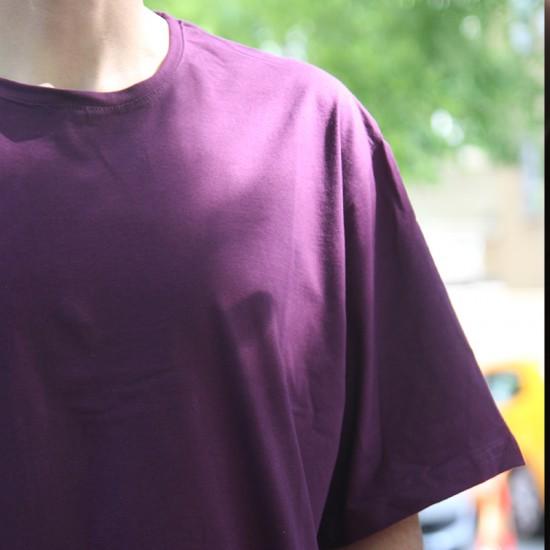 Mor Oversize Basic Tisort - Mürdüm eriği Renk